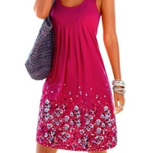 Womens Casual Sleeveless Mini Printed Vest Dress